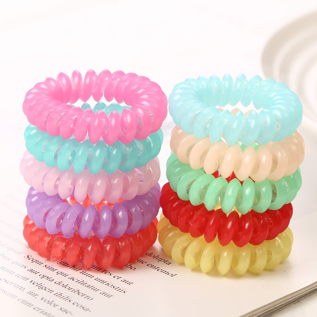 10PCS/lot 2cm Small Telephone Line Hair Ropes Girls Colorful Elastic Hair Bands Kid Ponytail Holder Tie Gum Hair Accessories 3