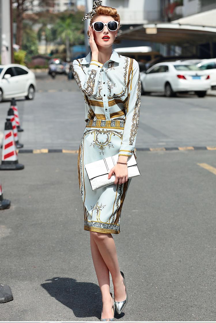 Designer Runway Suit Set Women's Sets Long Sleeve Shirt Tops + Print Skirt suit 2 Two piece set 5