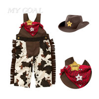 Baby Cowboy Romper Costume Infant Toddler Boy Girl Clothing Set 3pcs Hat Scarf Romper Halloween Purim