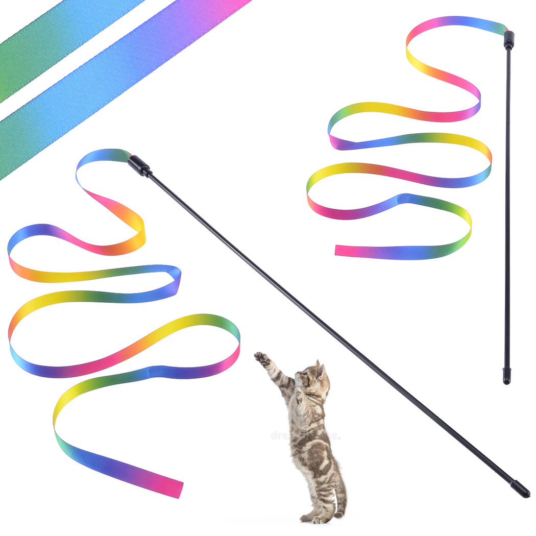 3PCS Cat Toys Cute Funny Colorful Rod Teaser Wand Plastic Pet Toys for Cats Interactive Stick Cat Supplies 9