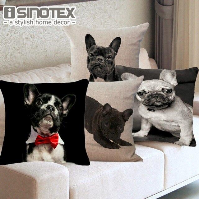 Cuscino Animale Francese Bulldog Pug Dog Federa 43x43 cm/17x17 ''Tessuto Cuscino