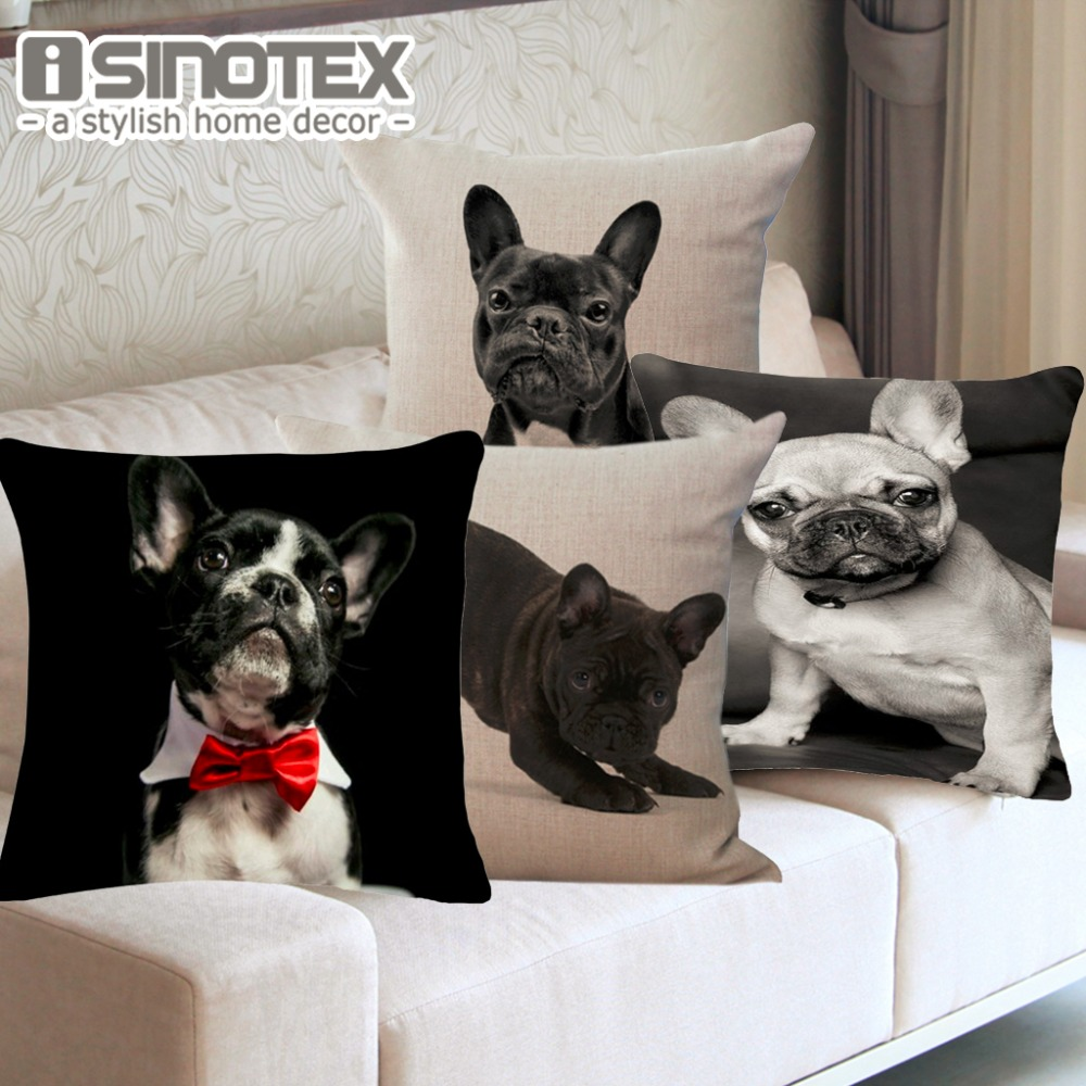 Cushion Cover Animal French Bulldog Pug Dog Pillowcase 43x43cm/17x17 Woven Pillow Covers Polyester&Linen Home Decor 1PCS/Lot