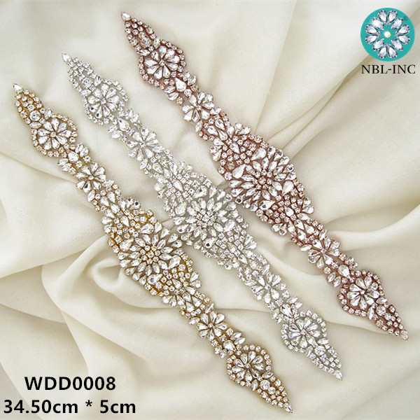 30pcs Wholesale iron on silver clear bridal beaded crystal rhinestone appliques for wedding dresses DIY