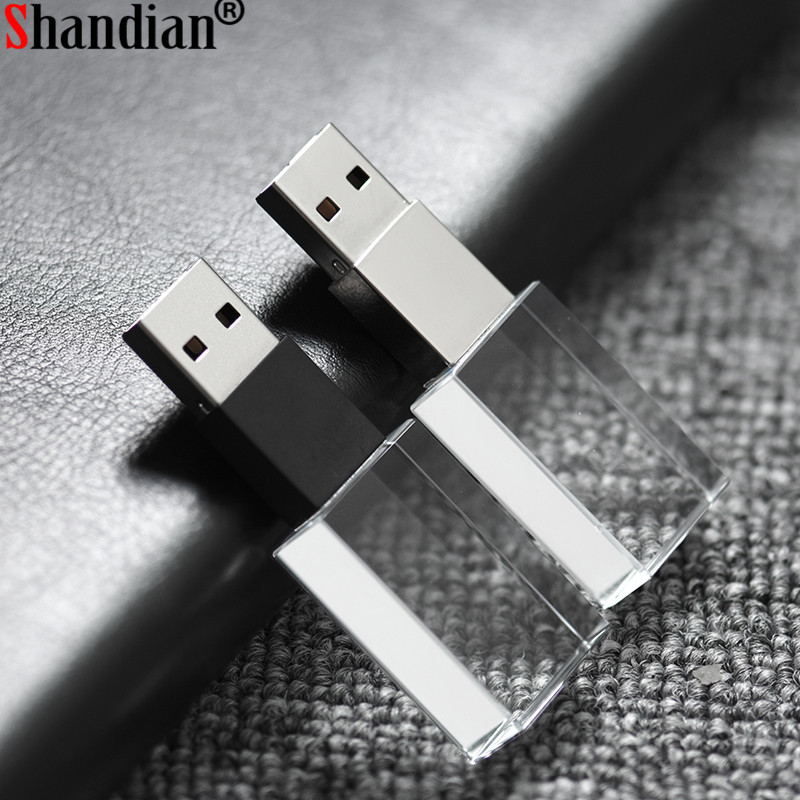 Shandian Crystal Usb Sticks 3d Print Custom Logo 4gb 16ggb Usb Flash Pendrive 32gb 64gb Transparent Glass(over 10 Pcs Free Logo