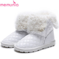 MEMUNIA Cow Leather Boots For Women Keep Warm Snow Boots Wool Fur Top Quality Ankle Boots