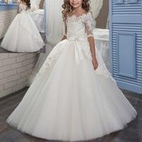 Elegant Child Girls Off Shoulder Lace Long Dress Wedding Bridesmaid Dresses for Kids birthday Vintage Ball Gown Princess Dress