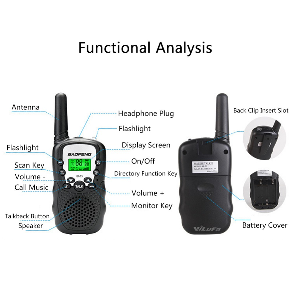 Image 4 - 2 PCS Baofeng BF T3 Mini Children Walkie Talkie Two Way Ham UHF Radio Station Transceiver Boafeng PMR 446 PMR446 Amador Handheld-in Walkie Talkie from Cellphones & Telecommunications