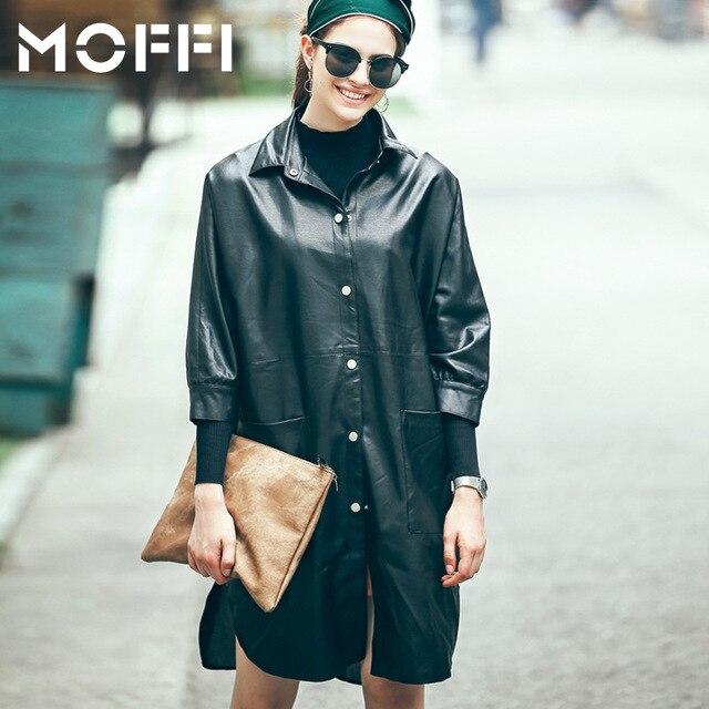 Women Trench Coat New 2016 Autumn PU Loose Thin Windbreaker Black White Three Quarter Sleeve Fashion Coats MF52855