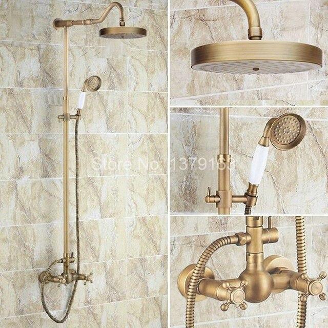 Luxury Bathroom Rain Shower Faucet Set Antique Brass Handheld Shower Head  Two Cross Handles Bath Mixer