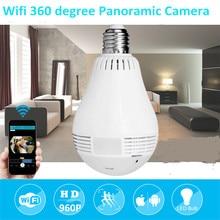 hot deal buy 1080p hd 2mp panoramic bulb light wireless ip camera wi-fi fisheye baby monitor mini lamp wifi p2p cam cctv home security