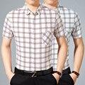 2016 последние модные коротким рукавом дышащий проверка/плед Формальные рубашки для мужчин с одного кармана