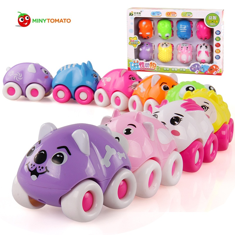 Free Shipping 8PCS Lot Car Toy Vehicles Gift Magnetic Car Cute Animals Toys Baby Car Early
