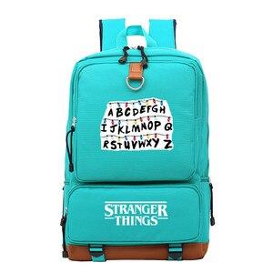 Image 3 - ストレンジャーものアルファベットriverdale少年少女の子供スクールバッグ女性bagpackティーンエイジャーランドセルキャンバス男性学生のバックパック