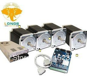 4 Axis Nema 34 Stepper Motor 880 oz in CNC Complete Kits with MACH 3