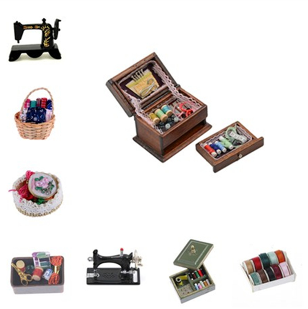 KittenBaby 1:12 Miniature Vintage Sewing Box With Needle Scissors Kit Dollhouse Decoration Accessories Furniture Toy