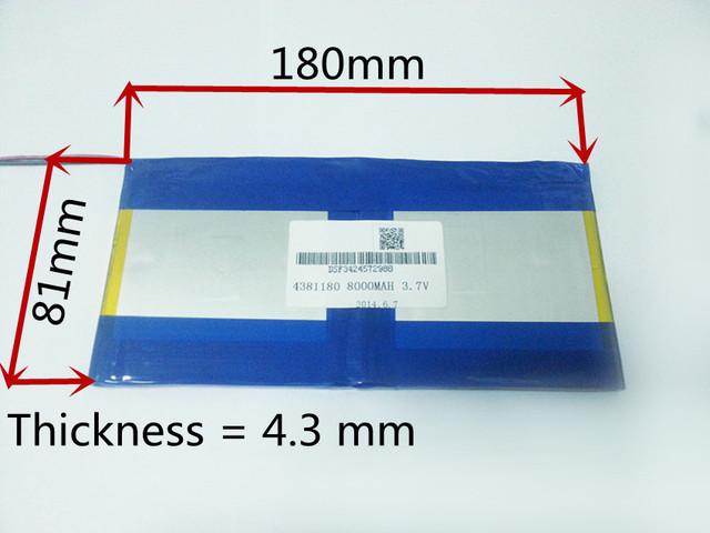 3.7V 8000mAH [4381180] PLIB (polymer lithium ion battery) Li-ion battery for tablet pc PIPO M9 pro 3g / max M9 quad core