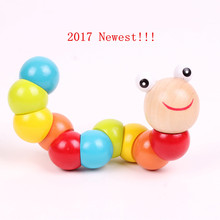 Newest Insert Puzzle Educational Wooden Colorful Toys Baby Child Fingers Flexible Training Science Twisting Worm Wood Kids Toys