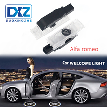 DXZ 2Pcs  Alfa Romeo 159 LED Car Door Welcome Light Logo Projector for Giulia Giulietta Mito Stelvio Brera Spider
