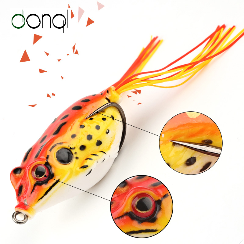 DONQL Soft Ray Frog Fishing Lures Double Hooks Top water Artificial Lure 6g 9g 13g Minnow Crank Strong Bait Fishing Tackle 30pcs set fishing lure kit hard spoon metal frog minnow jig head fishing artificial baits tackle accessories