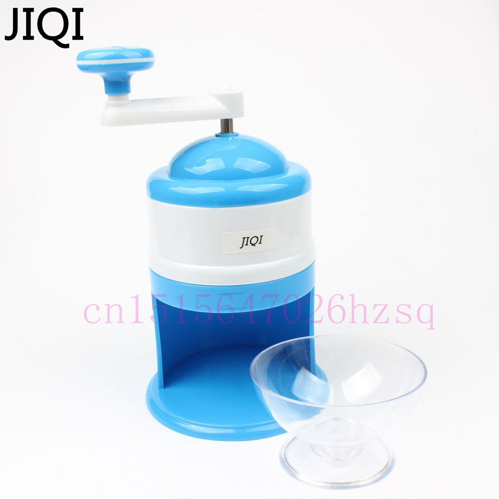 JIQI Household Ice Crushers Shavers Portable Blue and White handheld handstyle snow manual crushing ice machine edtid new high quality small commercial ice machine household ice machine tea milk shop