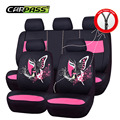 (Car-Pass) 2017 New Hot Design Red/Green/Pink Full Seat Cover Universal Cartoon  Car Seat Covers Fit For BMW AUDI