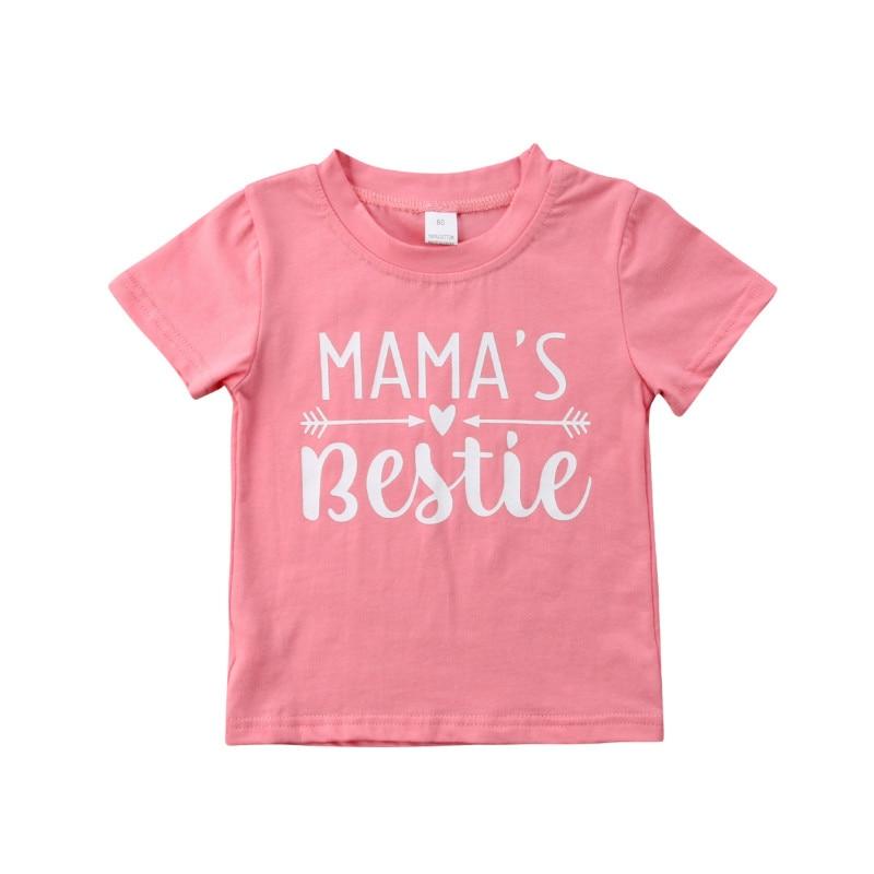 2018 New Kids Girls Baby Sweet Pink Letter Short Sleeve T-shirt Summer Casual Cotton T-Shirts Tops