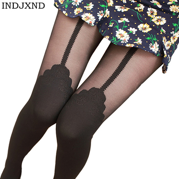 INDJXND Sexy Women Patchwork Tights Lady Tattoo Stitching Black Stockings Spring Autumn Twisted Knee Stocking Pantyhose Tights tights