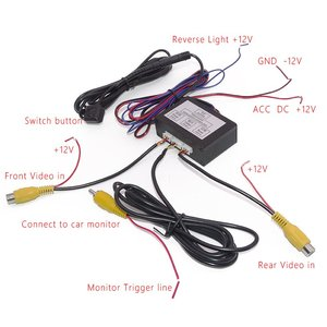 Image 3 - Commutateur vidéo pour système de caméra détecteur de stationnement de voiture avant et arrière avec câble vidéo 6M comprend un câble dalimentation manuel de lutilisateur