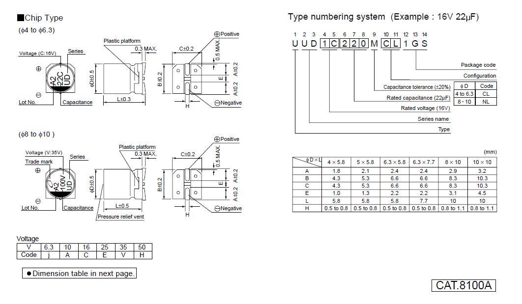 50pcs 35V 100uF 35V Nichicon UD 8x10mm SMD Low Impedance Capacitor