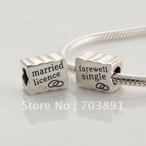 925 sterling silver married license charm bead fit for European bracelets 1pcs bead(not including bracelet)