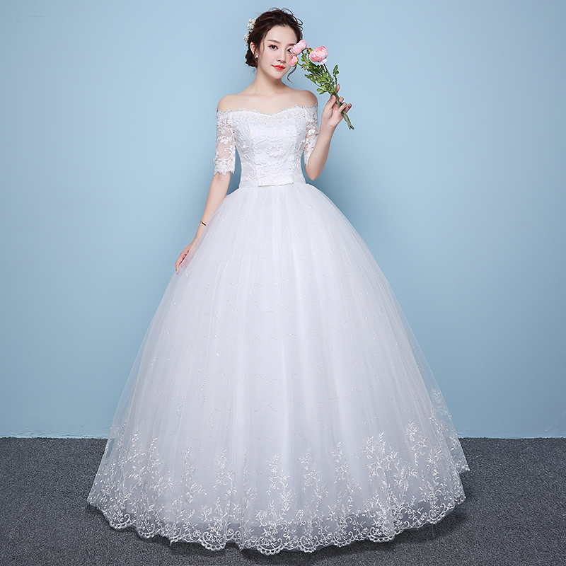 Fansmile Real Photo Simple Lace Up Ball Wedding Dresses 2019 Vestidos Robe De Mariage Customized Plus Size Bridal Gowns FSM-346F