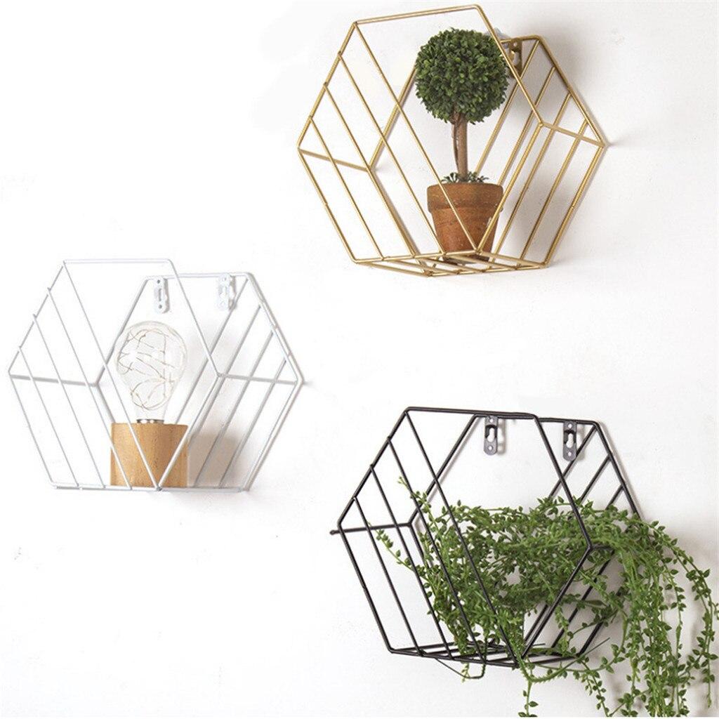 Muur Gemonteerde Geometrische Metalen Opslag Plank Eenvoudige Display Rack Voor Home Decor Opbergrek Organizer Office Thuis Opslag Plank
