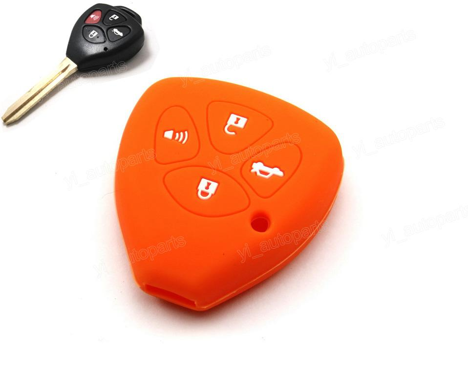 Orange Silicone Soft Case Cover Holder Bag Skin Fit For Toyota 4Runner Corolla Matrix Yaris Avalon Remote Key 4 Buttons