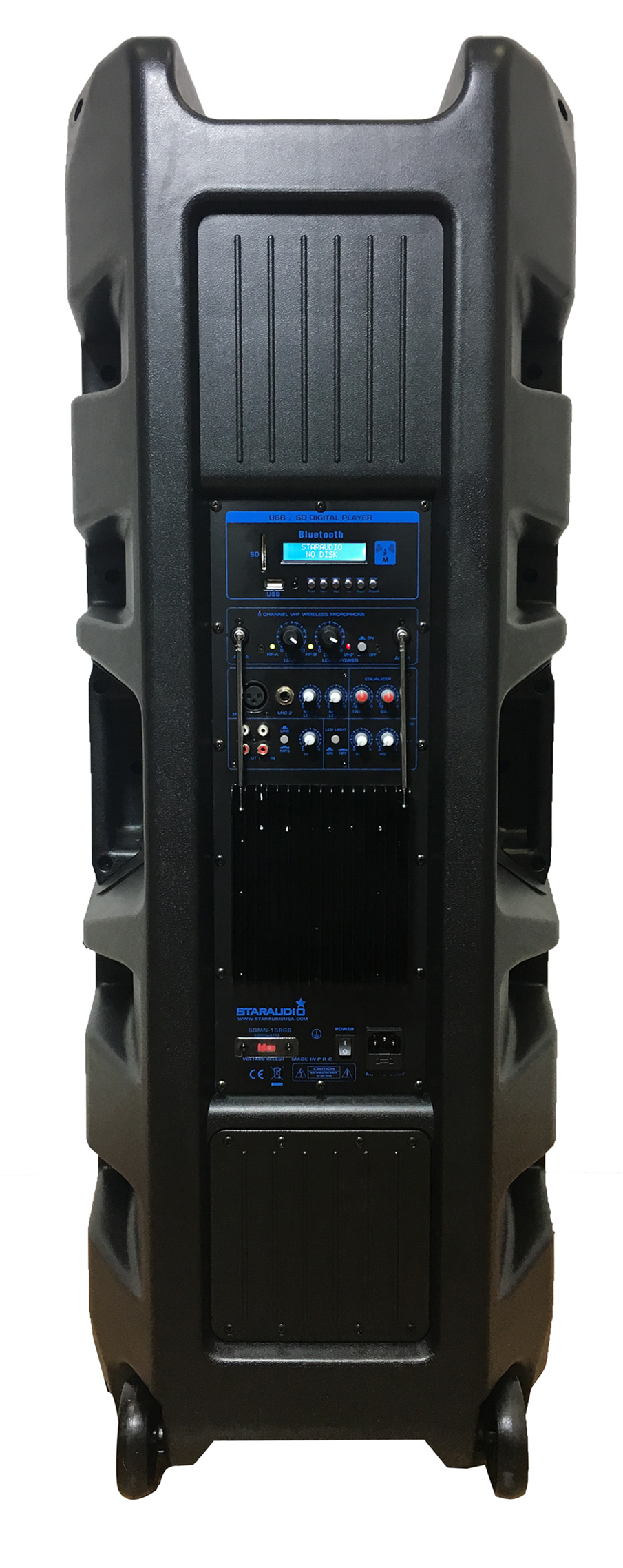dual 15inch 5000w powered pa dj stage party disco speaker bluetooth mp3 led lighting speakers with 2ch wireless headheld microphones