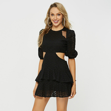 Women Half Puff Sleeve Ruffle Vacation Ladies Dresses Black Streetwear Mini Lace Europe Style White Sexy Dress