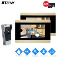 JERUAN 720P AHD Motion Detection 7 inch Touch Screen Video Door Phone Intercom System 2 Record Monitor +HD 110 degree Camera 1V2