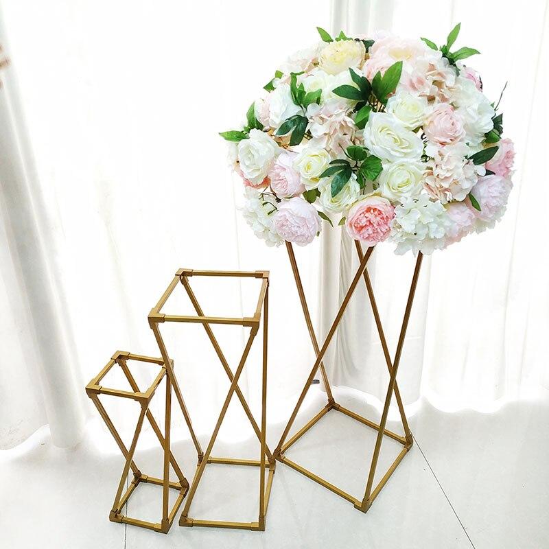 Vases de sol en métal Vase de table pliable porte-fleurs centres de table supports géométrique plomb de route pour événement fête de mariage décor