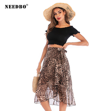 NEEDBO Women Skirt High Waist Mid-Calf Fashion Women Leopard Print Skirt Slim Sexy Party Midi Skirt Women Jupe Femme Skirts недорого