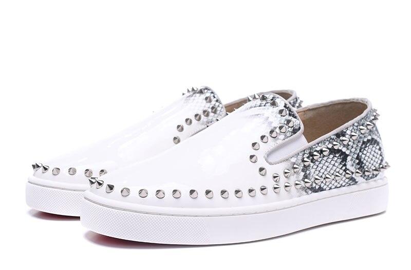 Luxo Baixo Vestido Mens Quente Moda Brancos Dos Couro De Da Venda Mocassins Casamento Hip Rebites Hop Sapatos Casuais Homens Sapatas Top xw86nWqAa