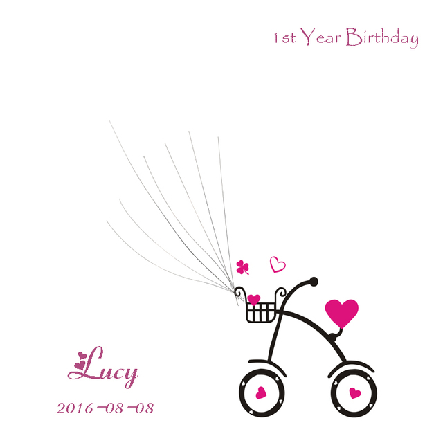 personalized birthday guest book bicycle ballons fingerprint baby