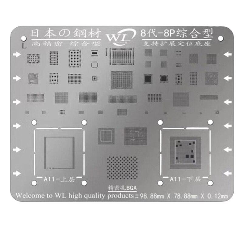 Giappone Acciaio Inox Telefono Scheda Logica di Riparazione BGA Stencil per il iphone 8 7 7 P 6 S 6 6 P 5 S 5C 5 Scheda Madre IC Chip Sfera di Saldatura Net