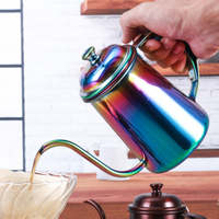 Colorful 650ML Stainless Steel Coffee Tea Pot Long Mouth Drip Coffee Kettle Teapot Drinkware Supplies For