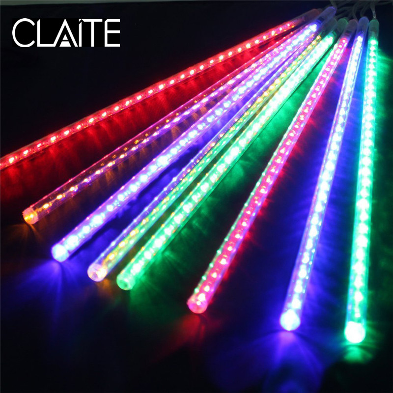 CLAITE 50cm LED Meteor Icicle Holiday String Light Falling Star Drop Party Decaration Lights for Outdoor Garden Trees EU/US Plug ...