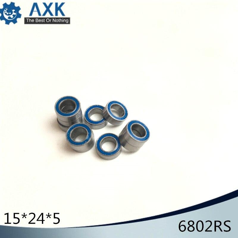 10pcs 6802-2RS 15x24x5 mm Black Rubber Sealed Ball Bearing Bearings 6802RS