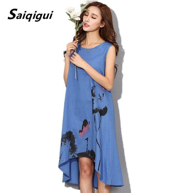 01ffa71d8 Saiqigui summer dress 2017 nuevo sin mangas de las mujeres blancas dress  casual cotton linen dress lotus impresión del o cuello vestidos de festa en  ...