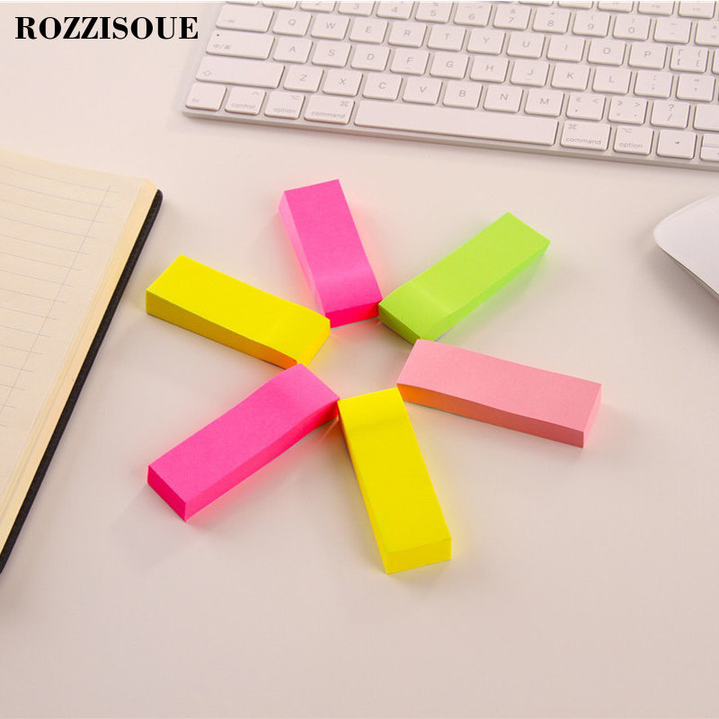 NEW Fluorescent Notes Paper Creative Strips and Convenient Stickers Message Self Adhesive Memo Pad Sticky Bookmark Point