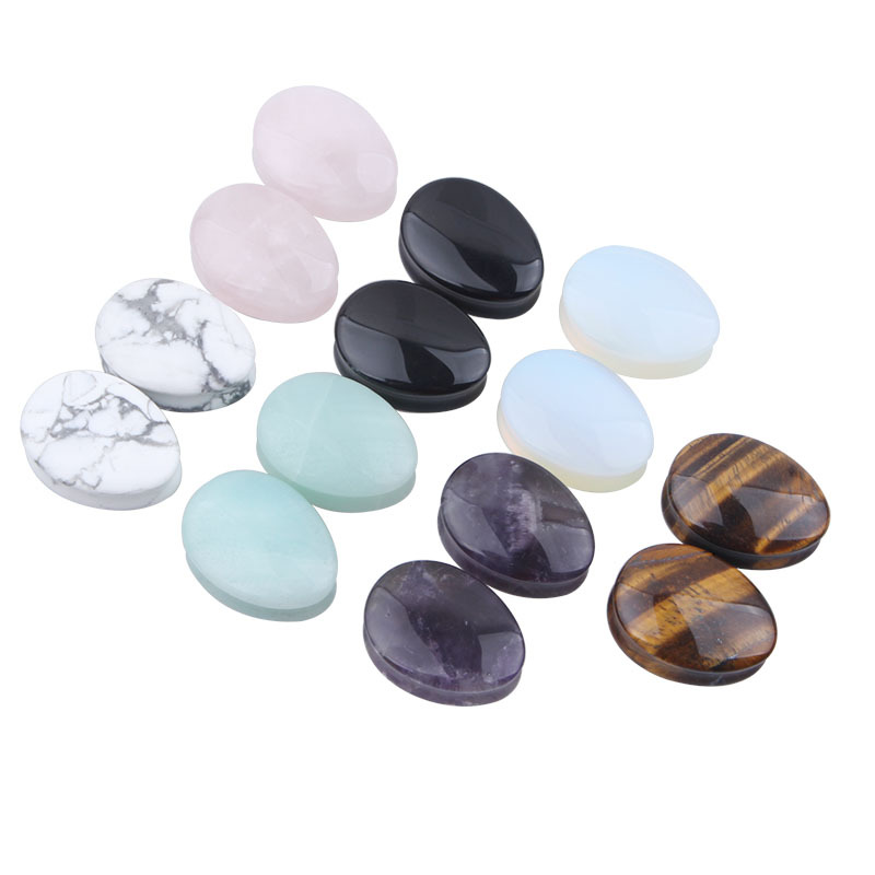Hot new stone Ear Plugs Flesh Tunnel water headphone 5 to 25MM ear piercing jewelry SEMI PRECIOUS STRETCHER TUNNEL TAPER SADDLE
