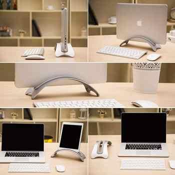 Aluminum Space-saving Laptop Vertical Stand Desktop Erected Holder for MacBook Pro Air Retina 3pcs Silica Gel Pad Available