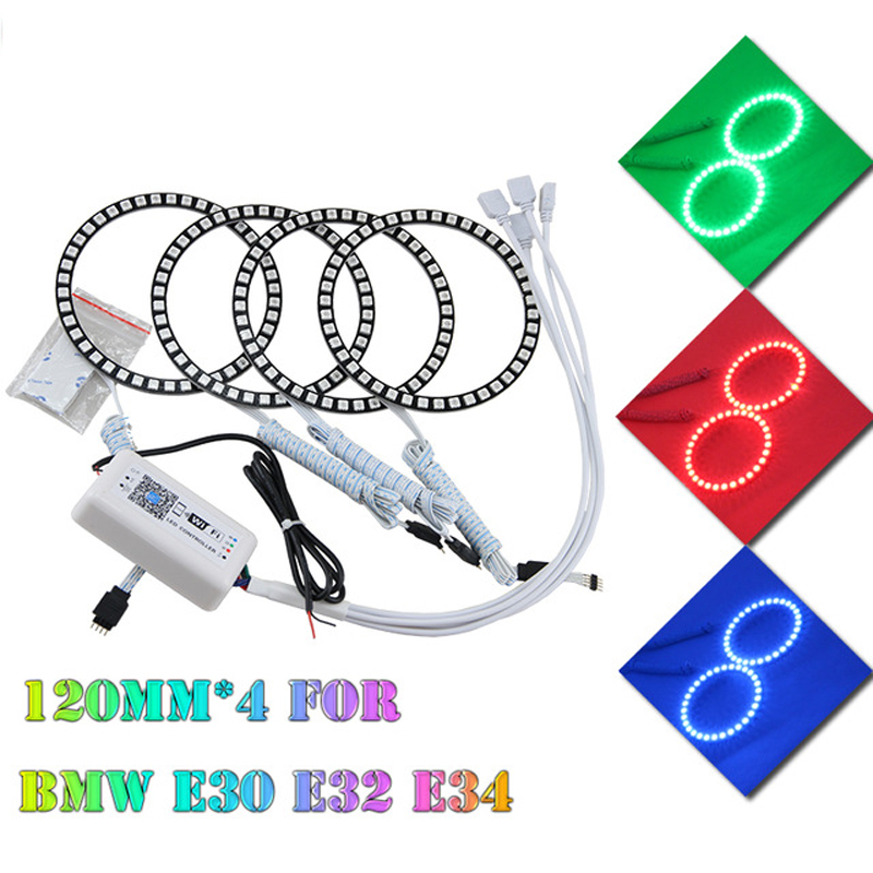 2017 New Android IOS Wifi control 120mm RGB LED angel eyes halo rings for BMW E30 E32 E34 multi-color change led headlight детская игрушка new wifi ios