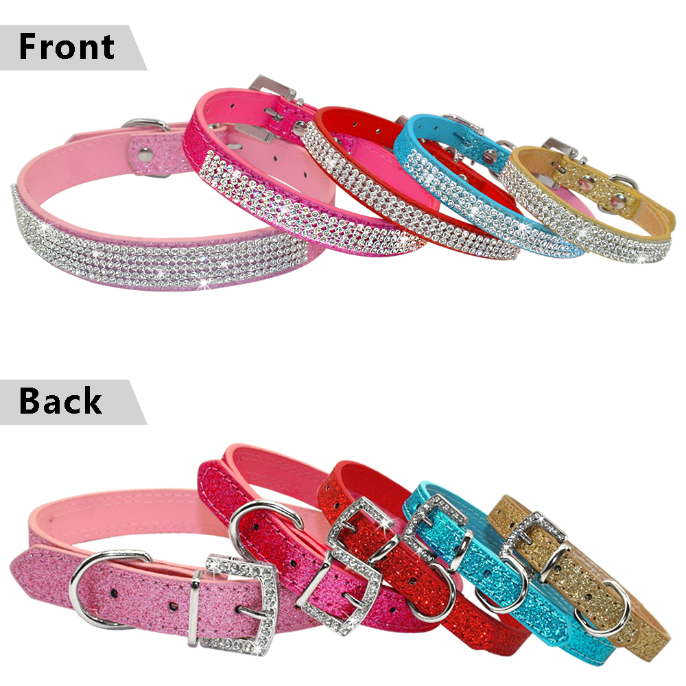 7f7f87228dc Bling Diamante Rhinestone PU Leather Cat Dog Collars Pink for Small Medium  Dogs Chihuahua Yorkie 5 Colors Size XS S M L-in Collars from Home   Garden  on ...